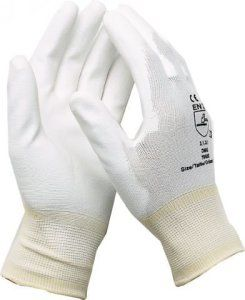 Montage Gants Gants de travail électricien mécanicien Gants nylon avec PU blanc taille 9/1paire