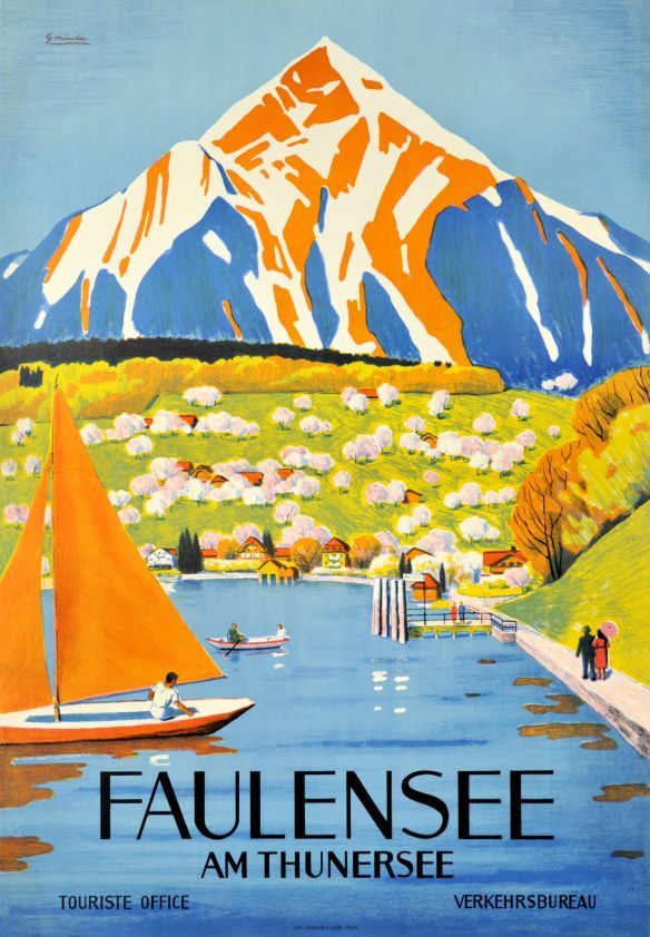 Vintage Travel Poster - Faulensee am Thunersee - Thun/Interlaken - Switzerland by Gmunder, 1938..