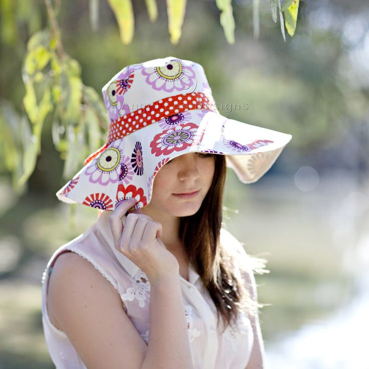 Womens Sun Hat Pattern. Spring Blooms Sunhat PDF Sewing Pattern. Reversible Wide Brimmed Sun Hat with Optional Trim by AngelLeaDesigns on Etsy https://www.etsy.com/listing/107087608/womens-sun-hat-pattern-spring-blooms