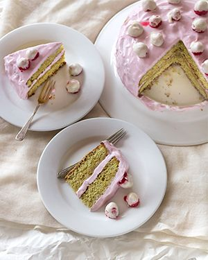 Pistachio Cake with White Chocolate Raspberries