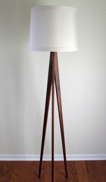 Floor lamp tripod mahogany wood by waldenwooddesigns on etsy