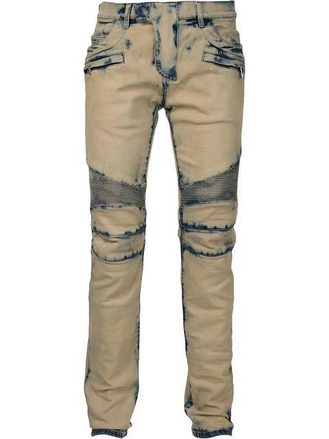 BALMAIN Tie-Dye Biker Jeans. #balmain #cloth #jeans