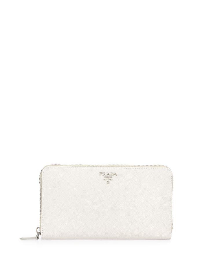 Prada Saffiano Metal Oro Travel Wallet, White (Talco), Women\u0026#39;s ...