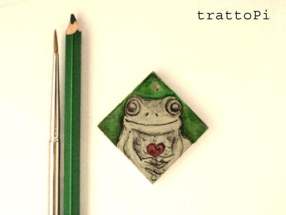 accessory  portachiavi cuore verde in legno dipinto e di trattoPi