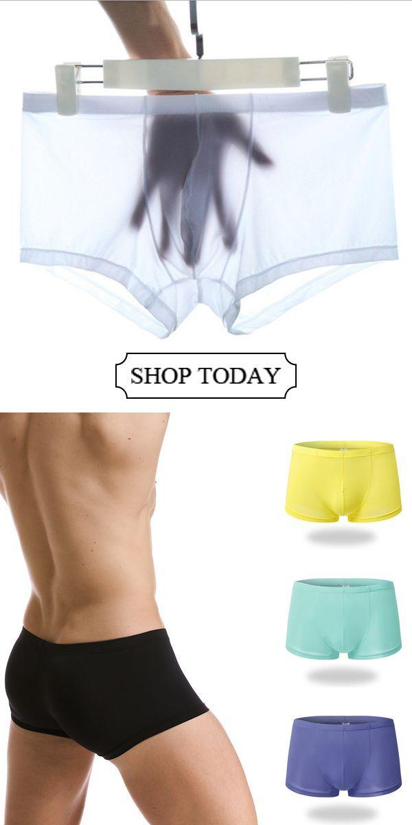 5fd122327e1f [54% OFF]Sexy Thin Breathable Ice Silk Low Waist Translucent U Convex Boxers #menswear #mensfashion #menstyle