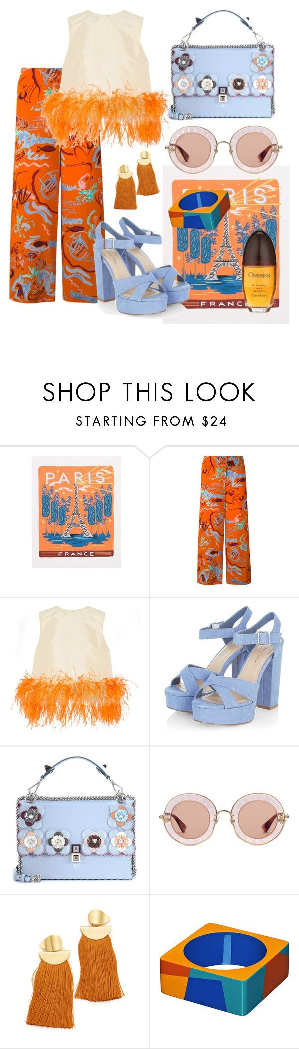 """#55"" by xesca-gomis on Polyvore featuring Rifle Paper Co, Aspesi, Prada, Fendi, Gucci, Lizzie Fortunato and Calvin Klein"