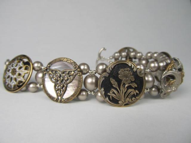 victorian enamel medley bracelet with antique buttons