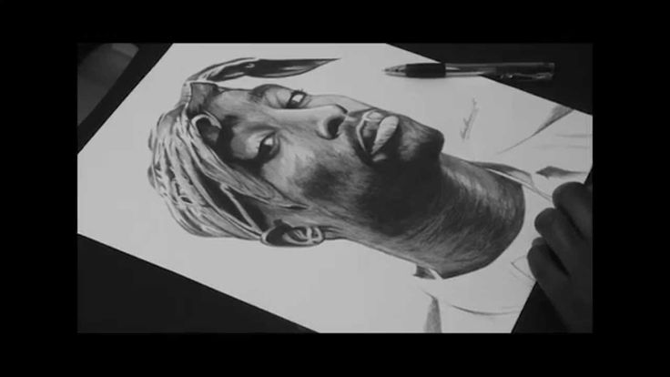 Pen Drawing Of Tupac Shakur Freehand #2pac #rapper #legend #great.   SUBSCRIBE FOR MORE ART.