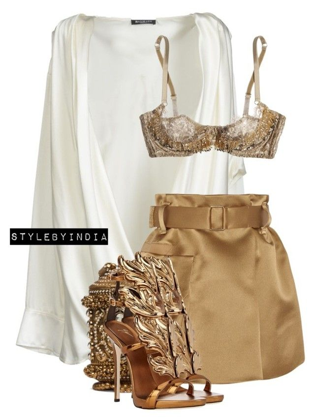 """Untitled #1657"" by stylebyindia ❤ liked on Polyvore featuring Balmain, Marc Jacobs, Agent Provocateur and Giuseppe Zanotti"