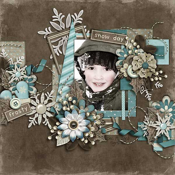'snow day' / change a photo to B, but add color to cheeks, lips and even eyes for a frosty layout that uses frosty colors