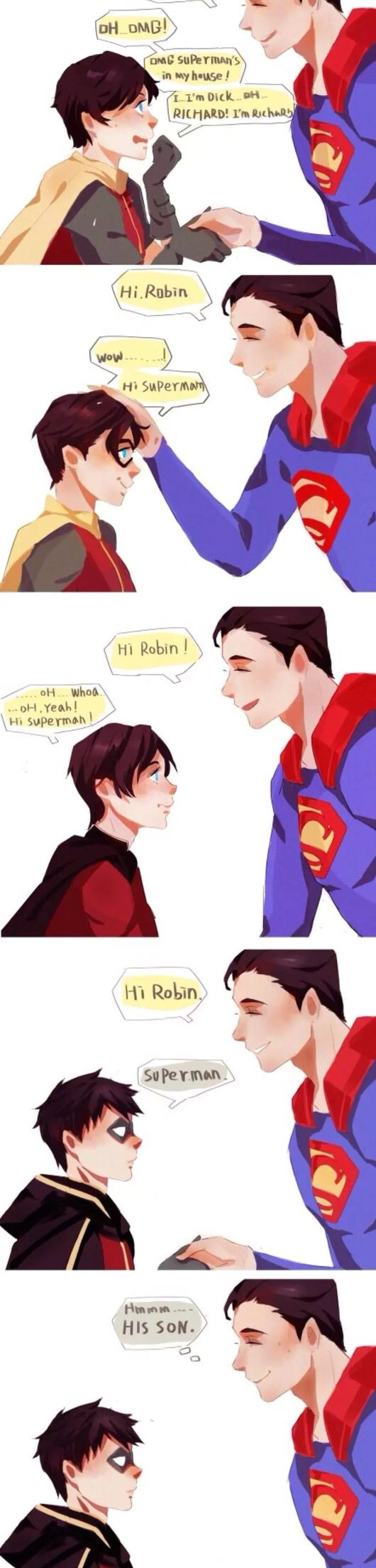 Robins meet Superman<<Damien ain't impressed by shit.