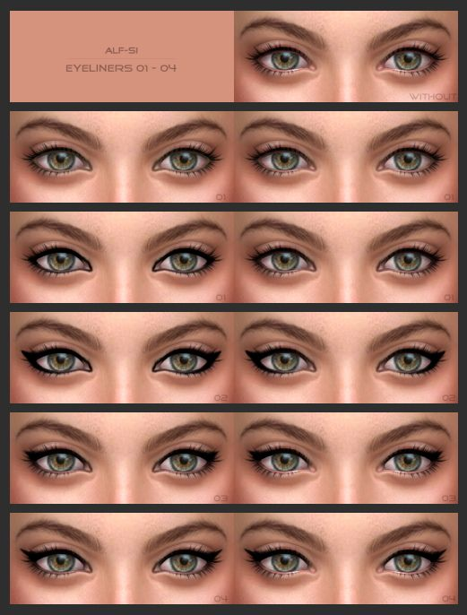 Eyeliners + eyebrows at Alf-si via Sims 4 Updates Check more at http://sims4updates.net/facial-hair/eyeliners-eyebrows-at-alf-si/