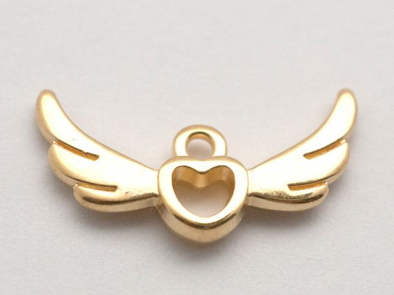 5 Pcs Gold Heart with Wings Charms Love Charms Angel by HabitHobby
