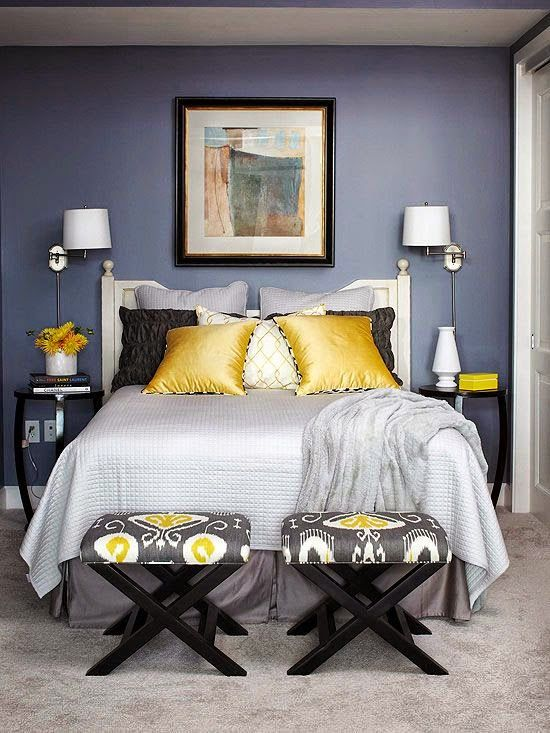 All Colors Of Design - grey and yellow bedroom