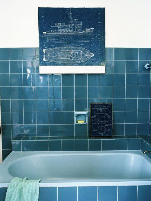 17 beste idee n over blauwe badkamertegels op pinterest blauwe tegels groene badkamertegels - Badkamer blauw ...