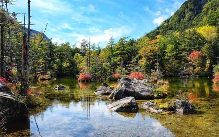 Download wallpapers Japan, forest, autumn, lake, mountains