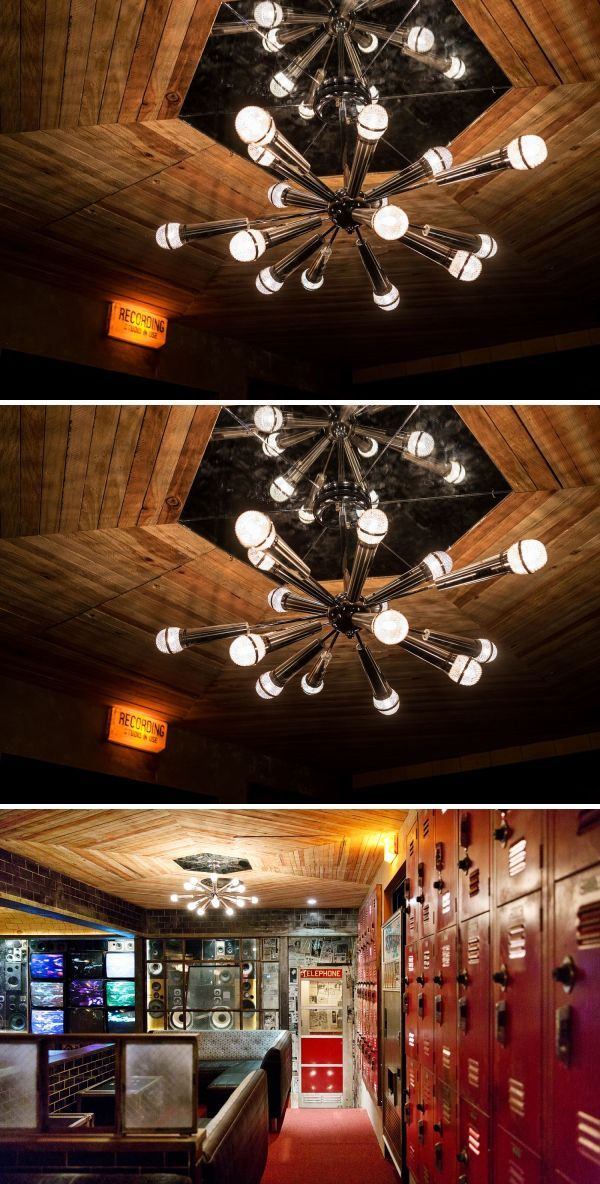 Custom Microphone Chandeliers Light Fixtures By Houston Hospitality At Break Room 86