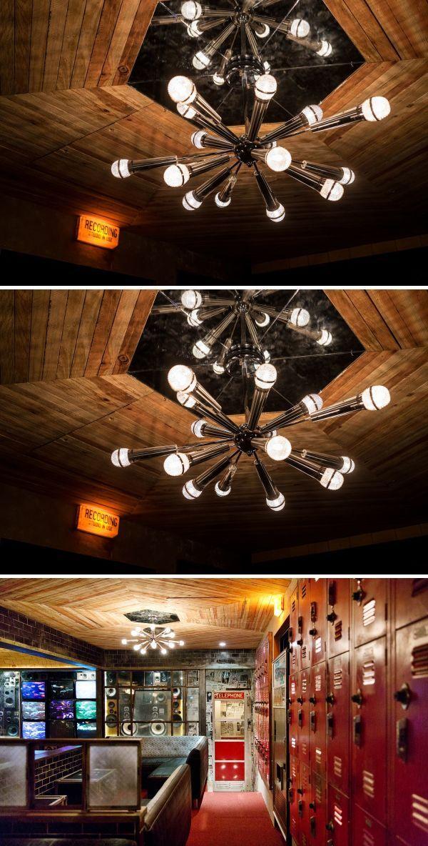 Custom Microphone Chandeliers Light Fixtures By Houston Hospitality At Break Room 86 Custom Neon Lights Unique Light Fixtures Chandelier Lighting