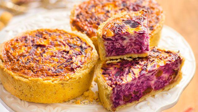 Tartaletas de col lombarda con queso de cabra