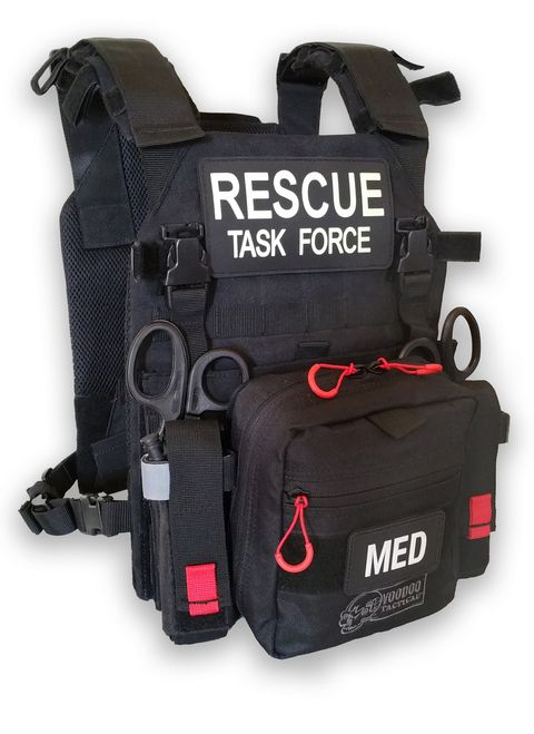 "The new Rescue Task Force RAPID Vest is designed to provide maximum flexibility in configuring a vest to your department's needs. The RAPID Vest is designed to easily adjust and fit a wide range of responders with waist sizes from 32"" to 55"". The rapid entry system on the vest allows responders to don the vest in seconds with minimal adjustment."