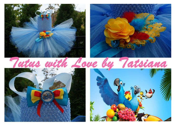 """For """"Rio"""" lovers!!! Beautiful dress in light and royal blue colours. Sparkling tulle adds additional shine to it. The bow is attachable and can be worn on the hair. Feather pad headband completes the outfit!"""