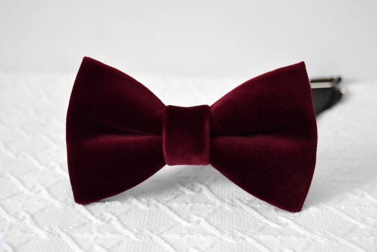Cranberry velvet bow tie, deep red velvet bow tie, wedding bow tie, bow tie for men, groomsmen bow tie by MrFoxBowTies on Etsy