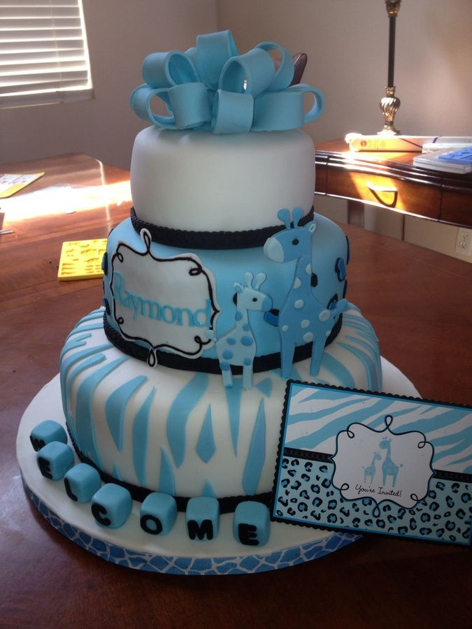 12, 9, and 6 inch giraffe theme baby shower cake | Cool ...