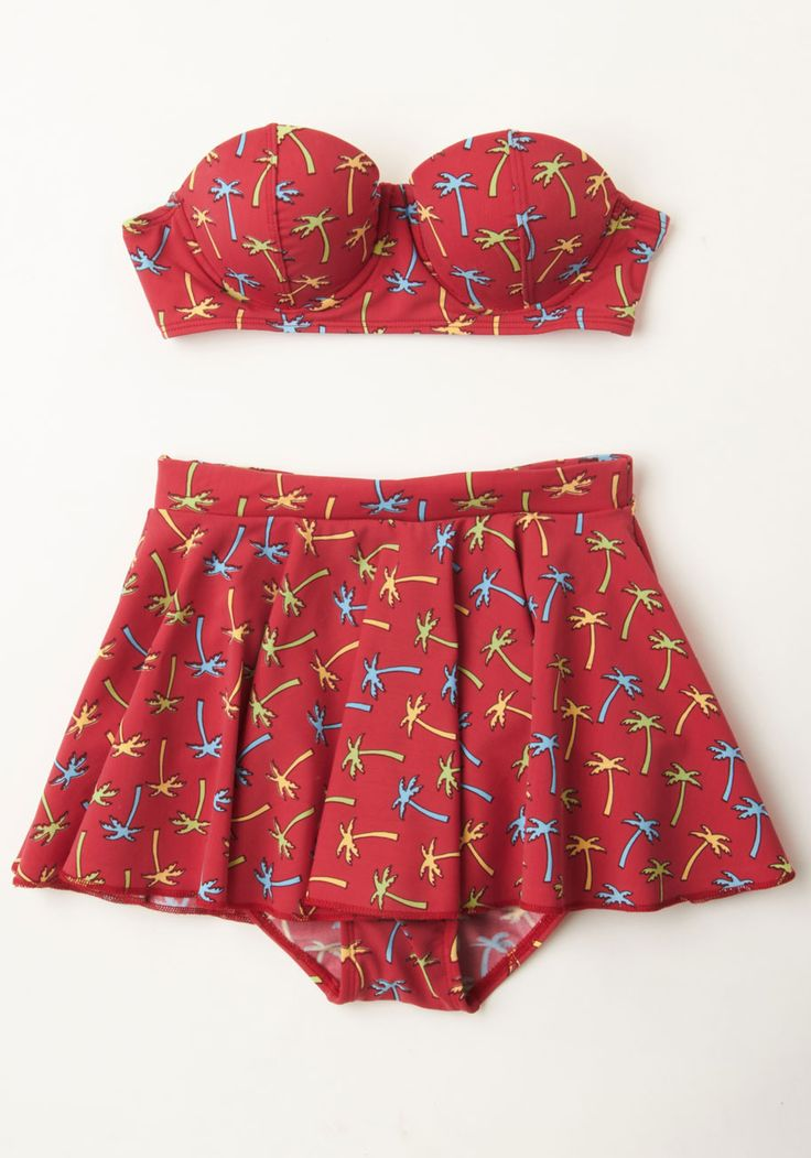 Tiki Your Time Two-Piece Swimsuit. Sunbathe the hours away on your resort getaway in this adorable bathing suit by Bettie Page! #red #modcloth