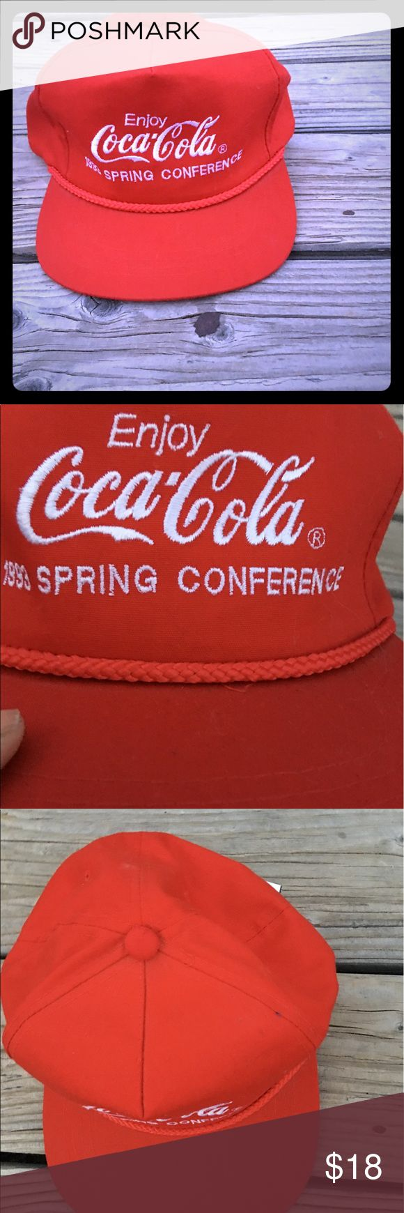 Vintage Coca Cola red SnapBack 1993 conference hat 1993 spring conference Coca Cola hat. This hat is vintage but deadstock meaning it's never been worn. The color is a deeper red then shown in pic. SnapBack. Unisex coca cola Accessories Hats