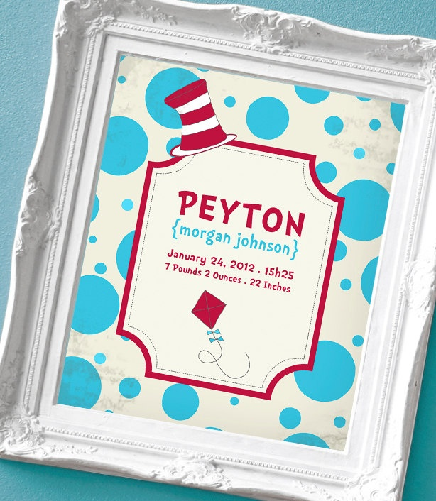 Dr Seuss inspired Birth Announcement Print for a Baby Girl or Boy's Nursery...Love It!