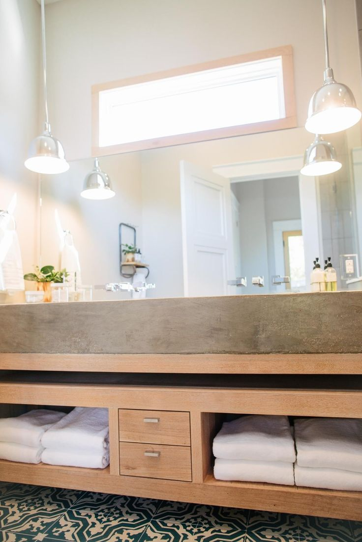 Concrete bench top Ensuite Timber vanity