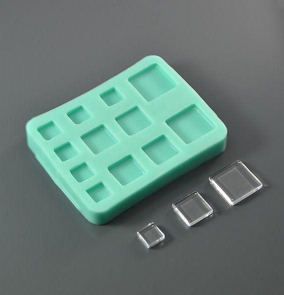 In silicone stampo 12 quadrati lenti 20 mm 15 mm 10 di FamilyMolds