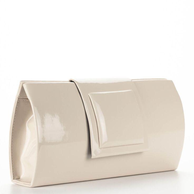 Prestige bézs női borítéktáska, lakk. Elegáns táska színházba, alkalomra. – ChiX Női Cipő- és Táska webáruház #bags #fashionbags