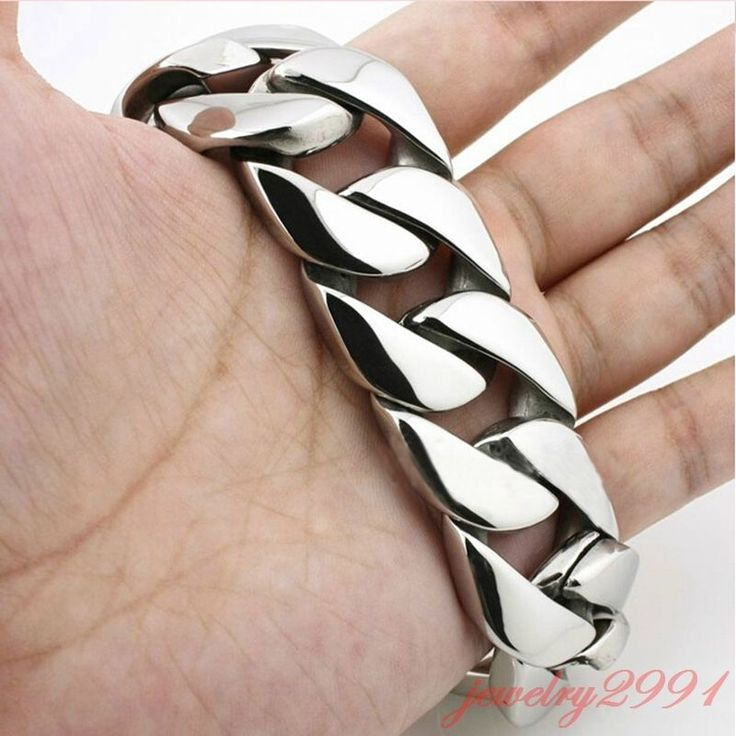 "Heavy New silver tone Stainless Steel Cool Mens Curb Chain 30mm Bracelet 8.66"" #Unbranded #Chain"