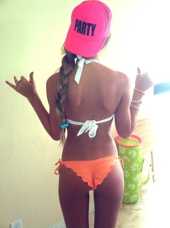 i have those bottoms!!! love it with the hot pink hat and braid.: Bright Color, Beaches Outfit, Summer Parties, Orange Parties, Summer Lovin, Summer Girls, Bath Suits, Bikinis Bod, Summer Time