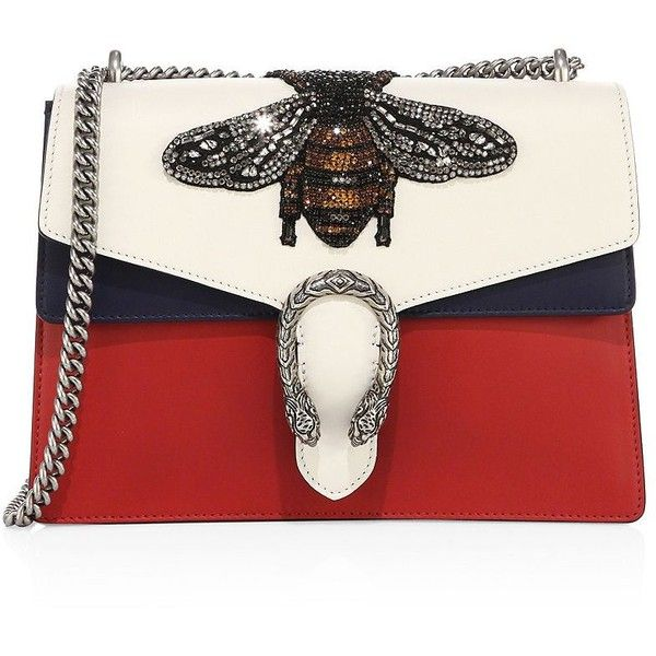 Gucci Medium Dionysus Bee-Embroidered Leather Shoulder Bag ($4,490) ❤ liked on Polyvore featuring bags, handbags, shoulder bags, apparel & accessories, gucci purses, leather shoulder bag, red shoulder bag, red purse and leather handbags