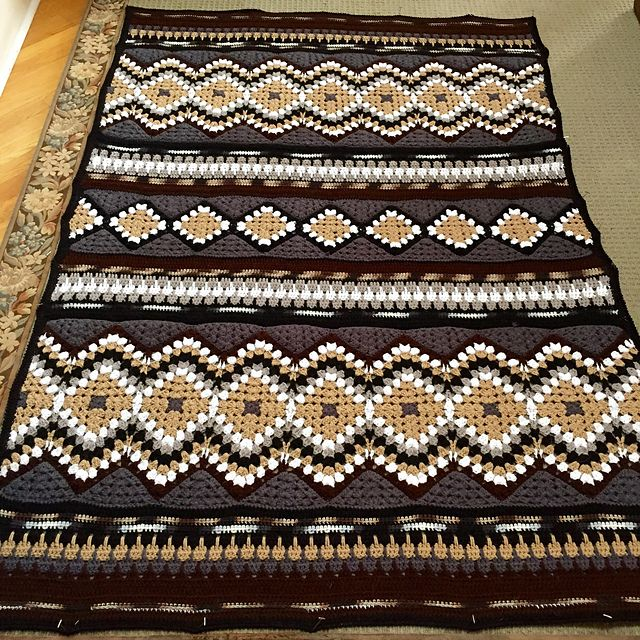 Crochet Pattern Southwestern Afghan : klmags Southwestern Border Blanket Helpful hints ...