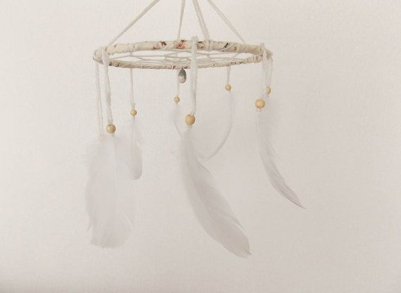 Pure White Mobile  Boho Home Decoration Childrens Baby by bohonest, $24.00