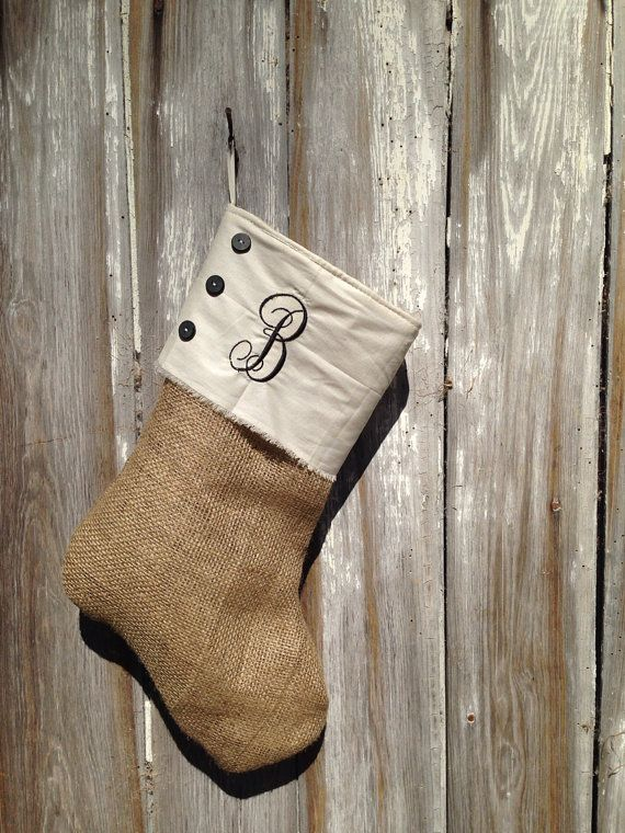 Monogrammed Burlap Christmas Stocking--for the boys in the house sans ruffle
