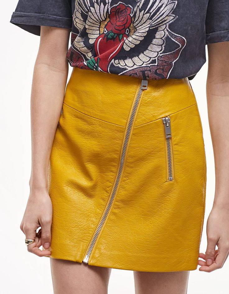 Leather look skirt with zip detail - Skirts | Stradivarius United Kingdom