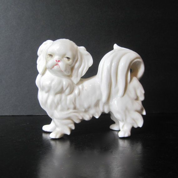 Vintage Blanc de Chine Pekingese Dog by Hallingtons on Etsy, $57.95