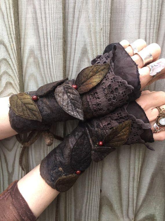 RESERVED for Ilaria Dark Leaf Cuffs-Faerie Cuffs by folkowl