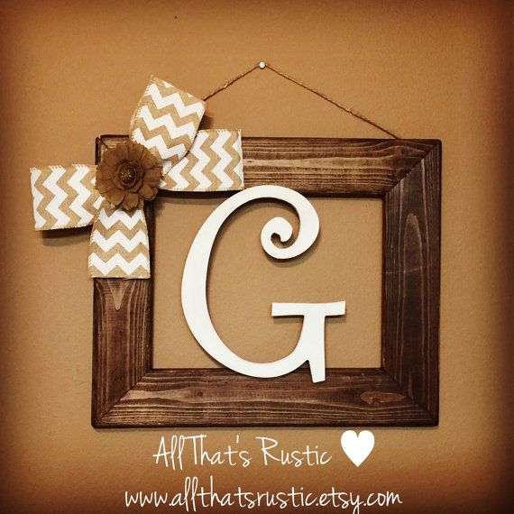 This listing is for a beautiful neutral toned rustic initial frame. This frame is perfect for adding a little rustic to any home decor! This also makes a wonderful and very unique gift for any occasion. Check out our 5-star reviews for comfort of purchasing:) Specs: -initial frame is an 8x10 (really measures about an 11x13 roughly)  This purchase includes the following: -8x10 rustic frame stained color of choice (espresso is shown) -frame hung with twine (can be hung with picture frame hook…