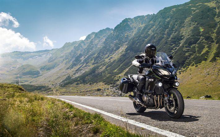 Download imagens Kawasaki Versys 1000, 4k, 2018 motos, estrada, motociclista, nova Versys, Kawasaki