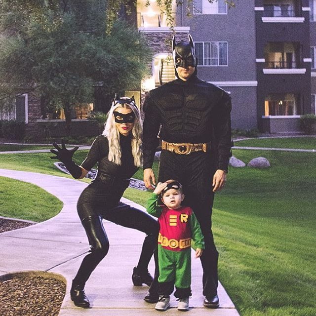 IG: @candacedecker_ batman, cat woman and robin costumes!
