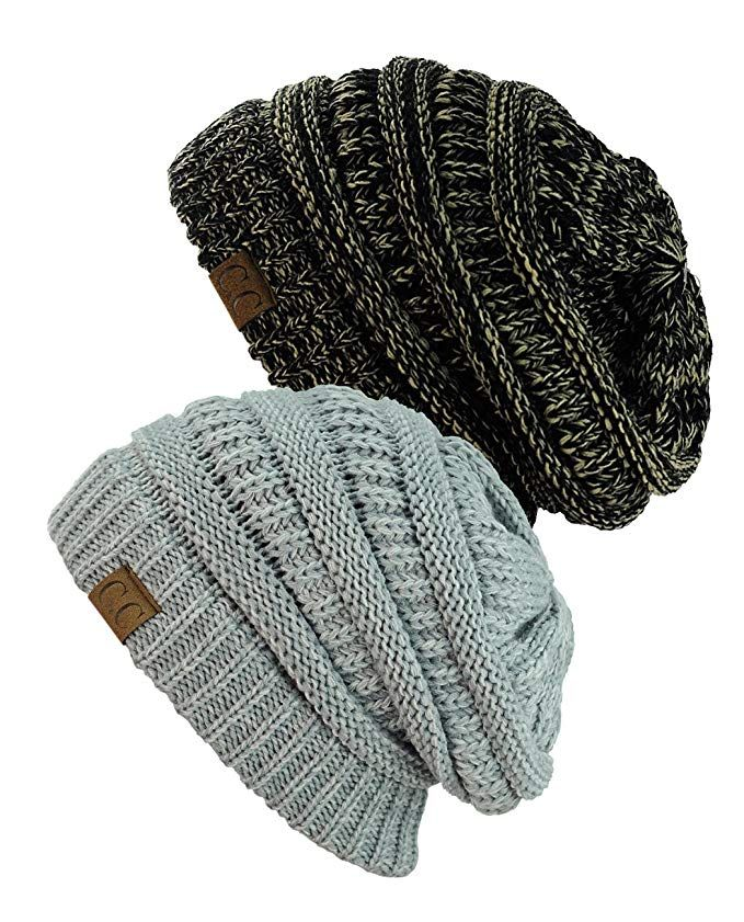 661883cf8e3 NYfashion101 Exclusive Unisex Two Tone Warm Cable Knit Thick Slouch Beanie  Cap