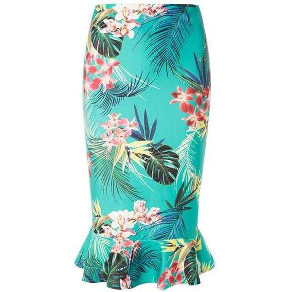 Dorothy Perkins Green Tropical Print Pephem Pencil Skirt (£34) ❤ liked on Polyvore featuring skirts, blue green skirt, dorothy perkins, blue skirt, knee length pencil skirt and green skirt