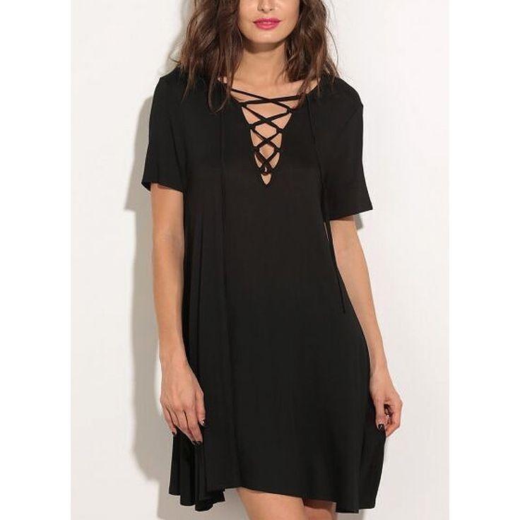 Summer Fashion Sexy Women's Clothing Cut V Neckline Cross Straps Front Mini Dress Women's Dresses