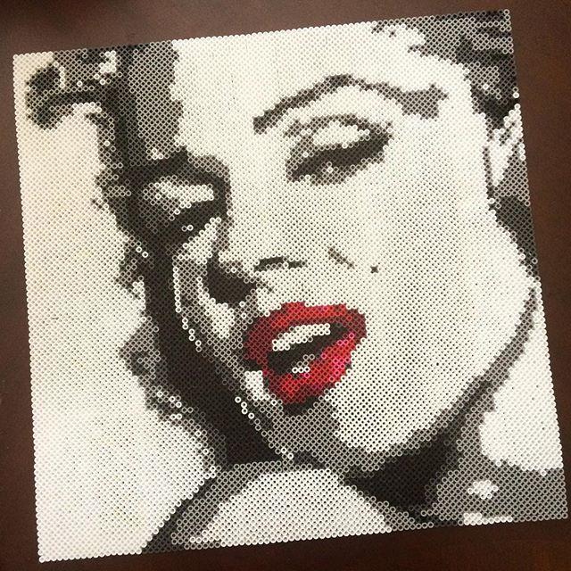 Marilyn Monroe portrait perler beads by strangernotdanger