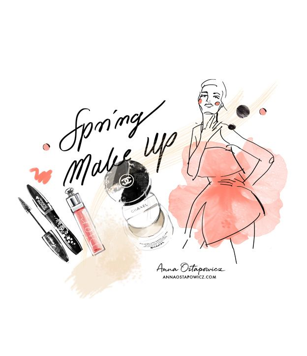 Spring makeup, Lancome, Dior, Chanel cosmetics, Illustration Anna Ostapowicz